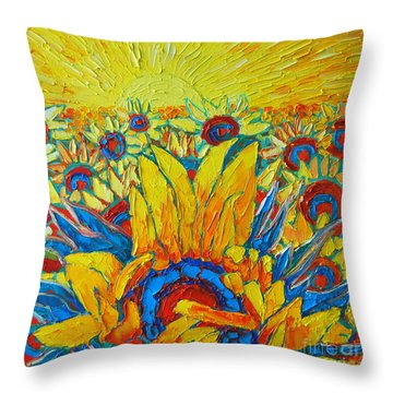 Sunflowers Field In Sunrise Light Throw Pillow by Ana Maria Edulescu