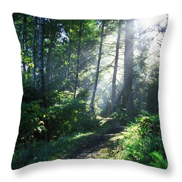 Sunlight Through Trees, Ecola State Throw Pillow by Natural Selection Craig Tuttle
