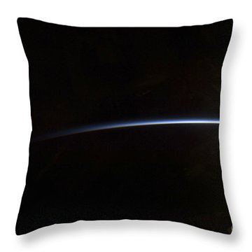 Sunrise As Viewed In Space Throw Pillow by Stocktrek Images
