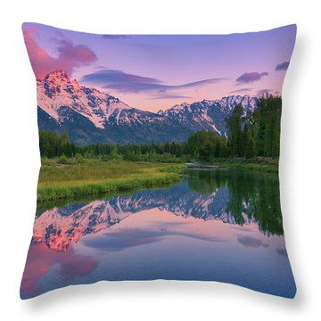 Throw Pillows Magnolia : Sunrise At Schwabacher Landing, Grand Teton N.p Photograph by Henk Meijer Photography
