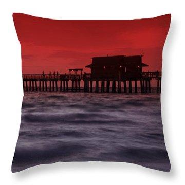 Sunset At Naples Pier Throw Pillow by Melanie Viola