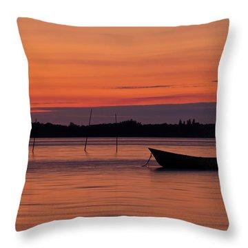 Sunset Boat Throw Pillow by Gert Lavsen