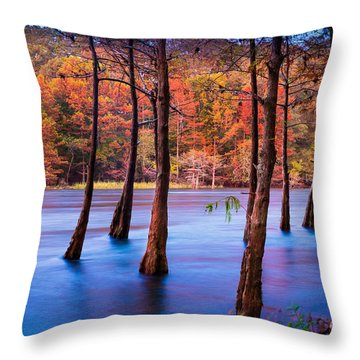 Sunset Cypresses Throw Pillow by Inge Johnsson