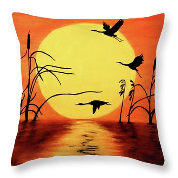 Sunset Geese Throw Pillow by Teresa Wing