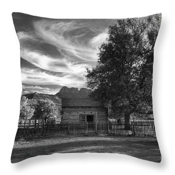 Sunset In Grafton Ghost Town Throw Pillow by Sandra Bronstein