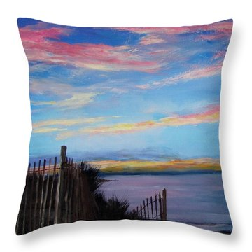 Sunset On Cape Cod Bay Throw Pillow by Jack Skinner