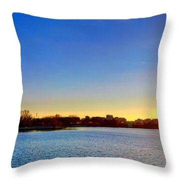 Sunset Over The Jefferson Memorial  Throw Pillow by Olivier Le Queinec