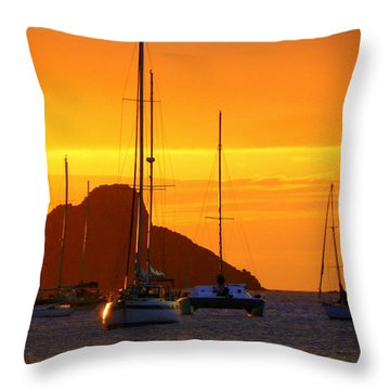 Sunset Sails Throw Pillow by Karen Wiles