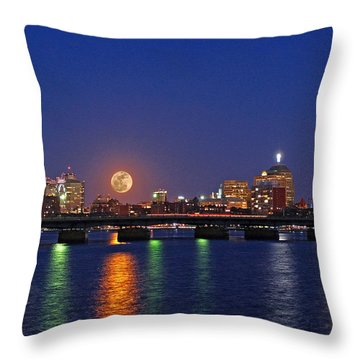 Super Moon Over Boston Throw Pillow by Juergen Roth