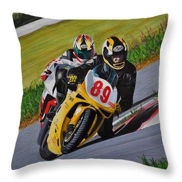 Superbikes Throw Pillow by Kenneth M  Kirsch