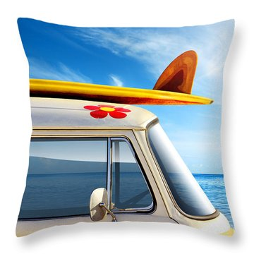Surf Van Throw Pillow by Carlos Caetano