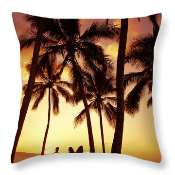 Surfer Couple Throw Pillow by Dana Edmunds - Printscapes