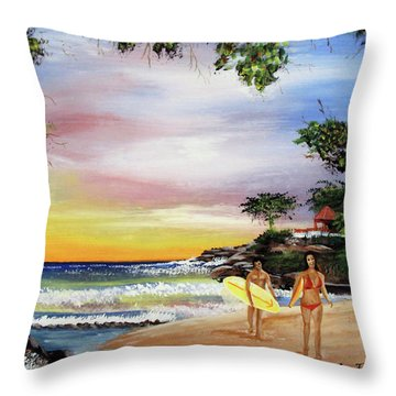 Surfing In Rincon Throw Pillow by Luis F Rodriguez