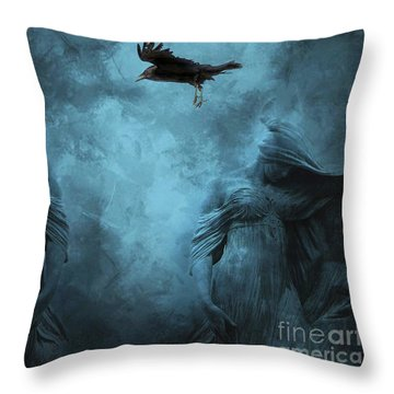 Surreal Gothic Cemetery Mourners And Raven Throw Pillow by Kathy Fornal