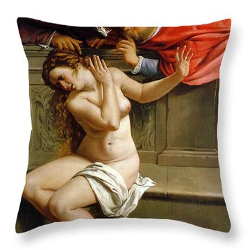 Susannah And The Elders Throw Pillow by Artemisia Gentileschi