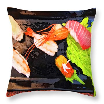 Sushi Plate 2 Throw Pillow by Dominic Piperata