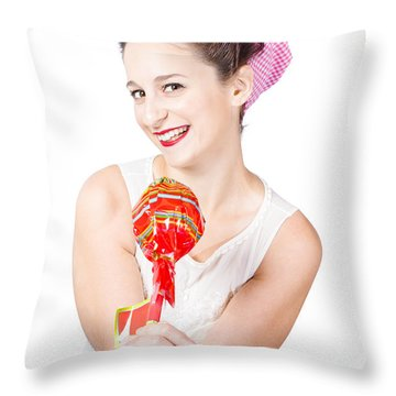 Sweet Lolly Shop Lady Offering Over Red Lollipop Throw Pillow by Jorgo Photography - Wall Art Gallery