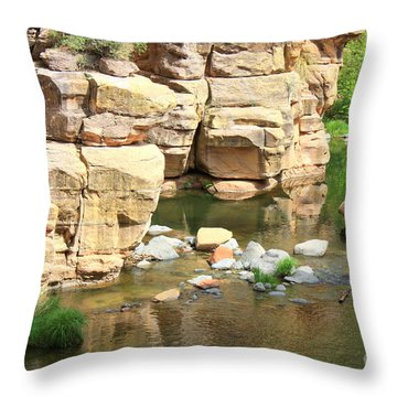 Swimming Hole At Slide Rock Throw Pillow by Carol Groenen