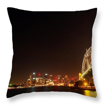 Sydney By Night Throw Pillow by Justin Woodhouse
