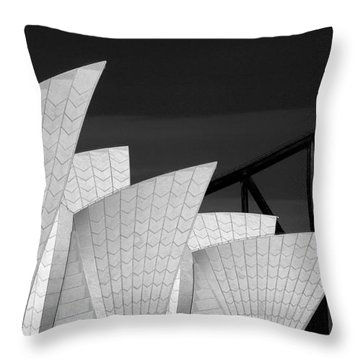 Sydney Opera House With Bridge Backdrop Throw Pillow by Avalon Fine Art Photography
