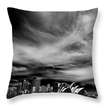 Sydney Skyline With Dramatic Sky Throw Pillow by Avalon Fine Art Photography