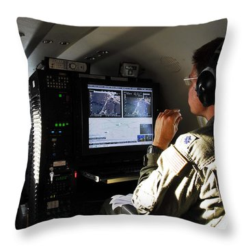 System Operator Operates A Console Throw Pillow by Stocktrek Images