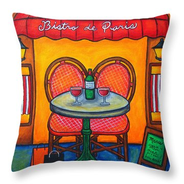 Table For Two In Paris Throw Pillow by Lisa  Lorenz