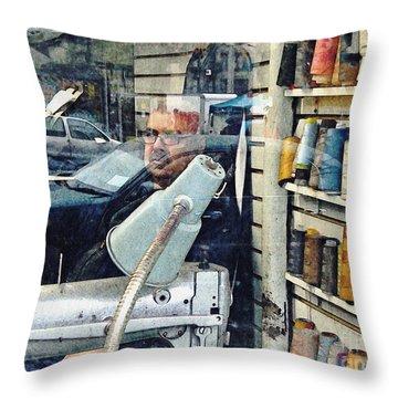 Tailor Shop Throw Pillow by Sarah Loft