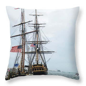 Tall Ships Hms Bounty And Privateer Lynx At Peanut Island Florida Throw Pillow by Michelle Wiarda