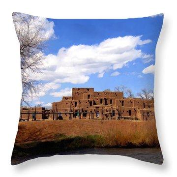 Taos Pueblo Early Spring Throw Pillow by Kurt Van Wagner