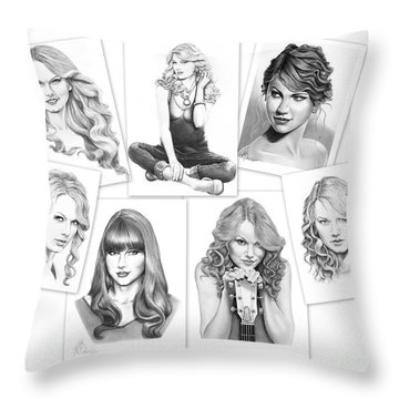 Taylor Swift Collage Throw Pillow by Murphy Elliott