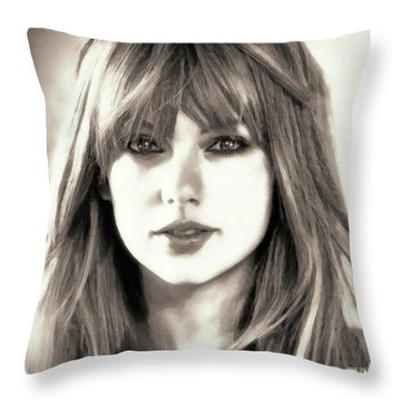 Taylor Swift - Glowing Beauty Throw Pillow by Robert Radmore