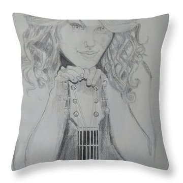 Taylor Swift Throw Pillow by Jiyad Mohammed nasser