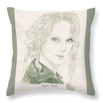 Taylor Swift Throw Pillow by Renee Kilburn