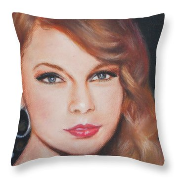 Taylor Swift  Throw Pillow by Ronnie Melvin