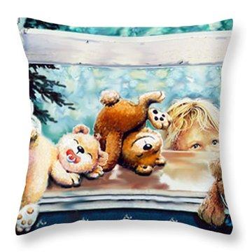 Teddy Tricks Throw Pillow by Hanne Lore Koehler