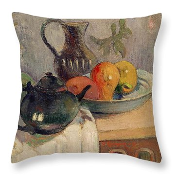 Teiera Brocca E Frutta Throw Pillow by Paul Gauguin