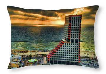 Tel Aviv Lego Throw Pillow by Ron Shoshani