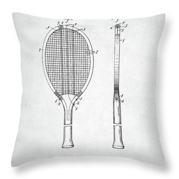 Tennis Racket Patent 1907 Throw Pillow by Taylan Apukovska
