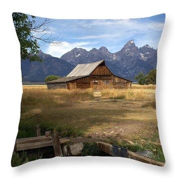 Teton Barn Throw Pillow by Marty Koch