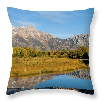 Teton Reflections Throw Pillow by Steve Stuller
