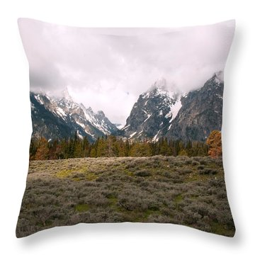 Tetons Throw Pillow by Amanda Kiplinger