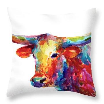 Texas Longhorn Art Throw Pillow by Svetlana Novikova