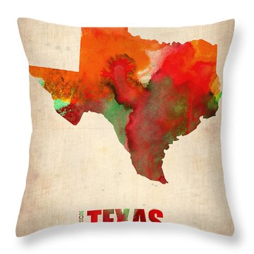 Texas Watercolor Map Throw Pillow by Naxart Studio