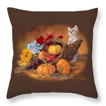 Thankful Throw Pillow by Lucie Bilodeau