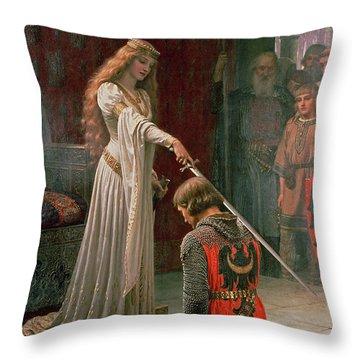 The Accolade Throw Pillow by Edmund Blair Leighton