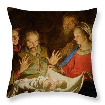 The Adoration Of The Shepherds Throw Pillow by Matthias Stomer