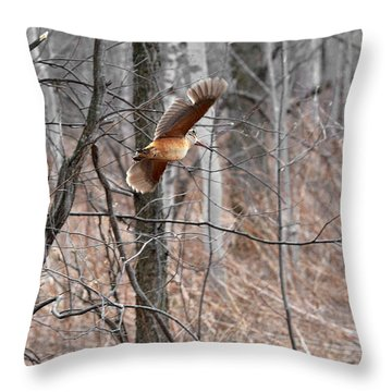 The American Woodcock In-flight Throw Pillow by Asbed Iskedjian
