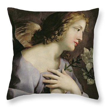 The Angel Of The Annunciation Throw Pillow by Giovanni Francesco Romanelli