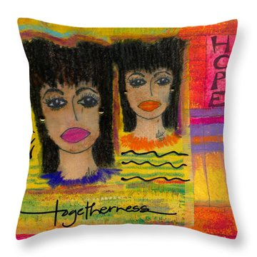 The Angels Of Hope And Prayer Throw Pillow by Angela L Walker